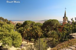 View of Guadi's own house with Barcelona as a back drop